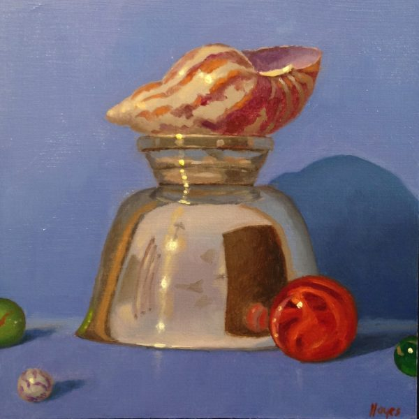 Jeffrey Hayes: Still Life Painting: Oil Painting: Fairy Tale: The Marbles the Shell, and the Mountain
