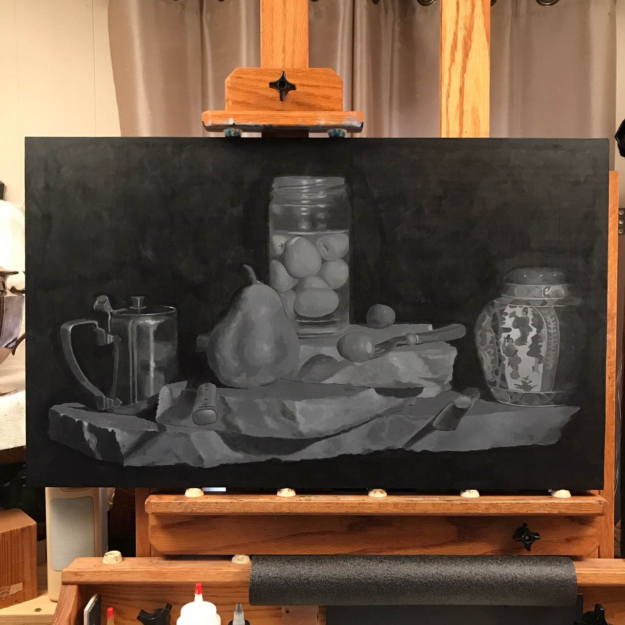 A completed grisaille for a larger painting