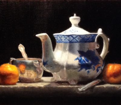 """Tea, with Memories"", oil on linen, 9x12 inches, 2017"