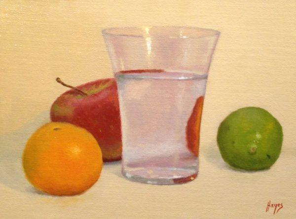 Orange, Apple, Water Glass, Lime