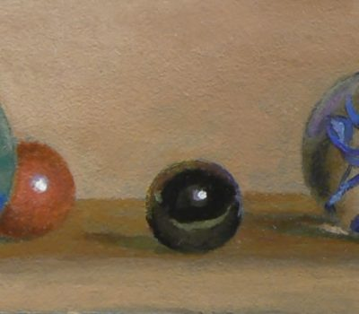 """The Gathering II"", acrylic on panel, 2x5 inches, 2013"