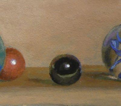 """""""The Gathering II"""", acrylic on panel, 2x5 inches, 2013"""