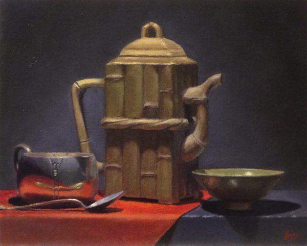Yixing Teapot, Silver, and Bowl