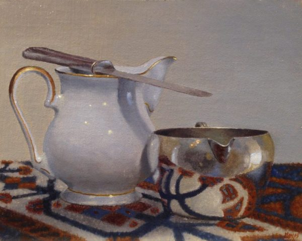 Two Creamers and Oriental Rug