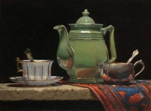 """Green Teapot with Oriental Rug"""