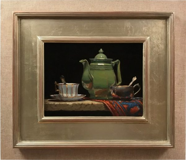 Green Teapot and Oriental Rug