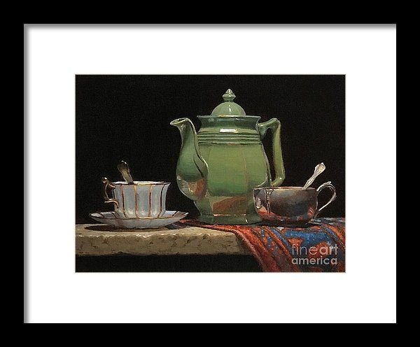 Green Teapot and Oriental Rug Giclee