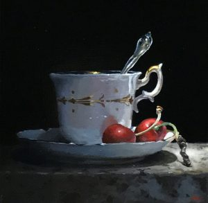"""Teacup and Cherries in Shadow"", oil on panel, 5x5 inches"