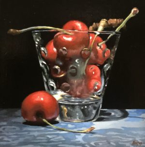 """Cherries in Glass on Blue Silk"""