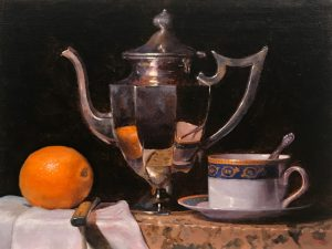 """Orange, Knife, Teapot, Teacup"", oil on linen, 9x12 inches"