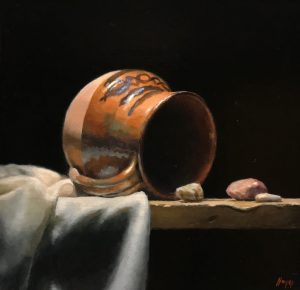 """Mexican Pitcher and River Stones"", oil on panel, 5x5 inches"