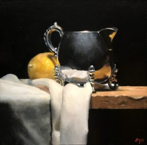 """Silver and Lemon on Cloth"", oil on panel, 5x5 inches"