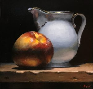 """Nectarine and Creamer"", oil on panel, 5x5 inches"