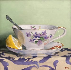 """Teacup, Lemon, Silver"", oil on panel, 5x5 inches"