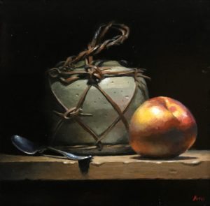 """Silver, Ginger Jar, Nectarine"", oil on panel, 5x5 inches"