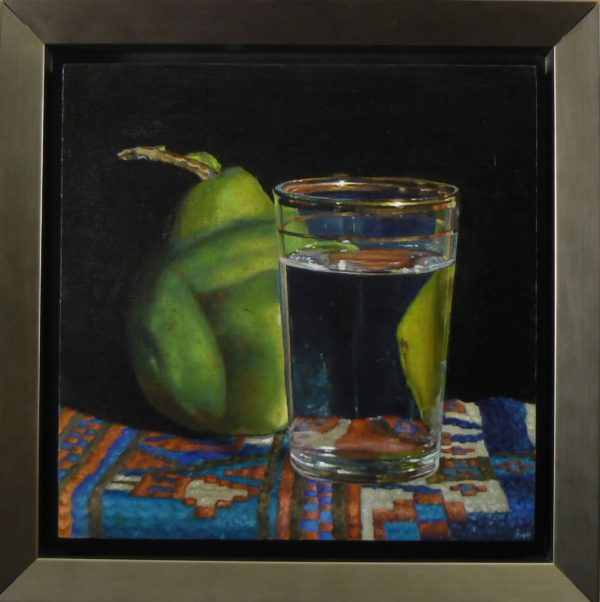 Pear, Waterglass, and Oriental Rug