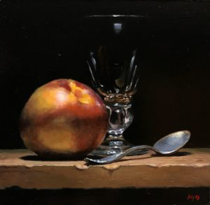 """Nectarine, Glass, Silver"", oil on panel, 5x5 inches"