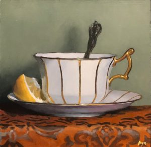 """Teacup and Lemon on Red Silk"", oil on panel, 5x5 inches"