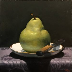 """Pear and Knife on Purple Silk"", oil on panel, 5x5 inches"