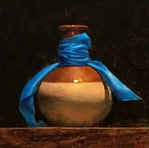 """Vase and Blue Ribbon"", oil on panel, 5x5 inches"