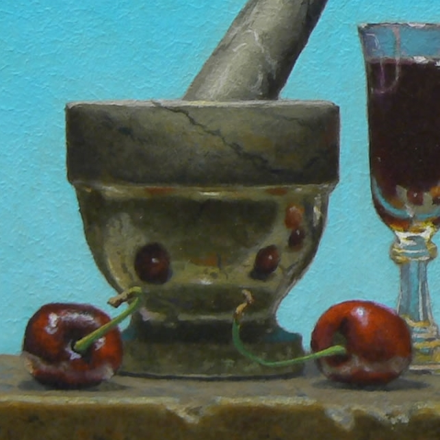 "Detail from ""Still Life with Clear Sky"", acrylic on panel, 5×6 inches, 2014"
