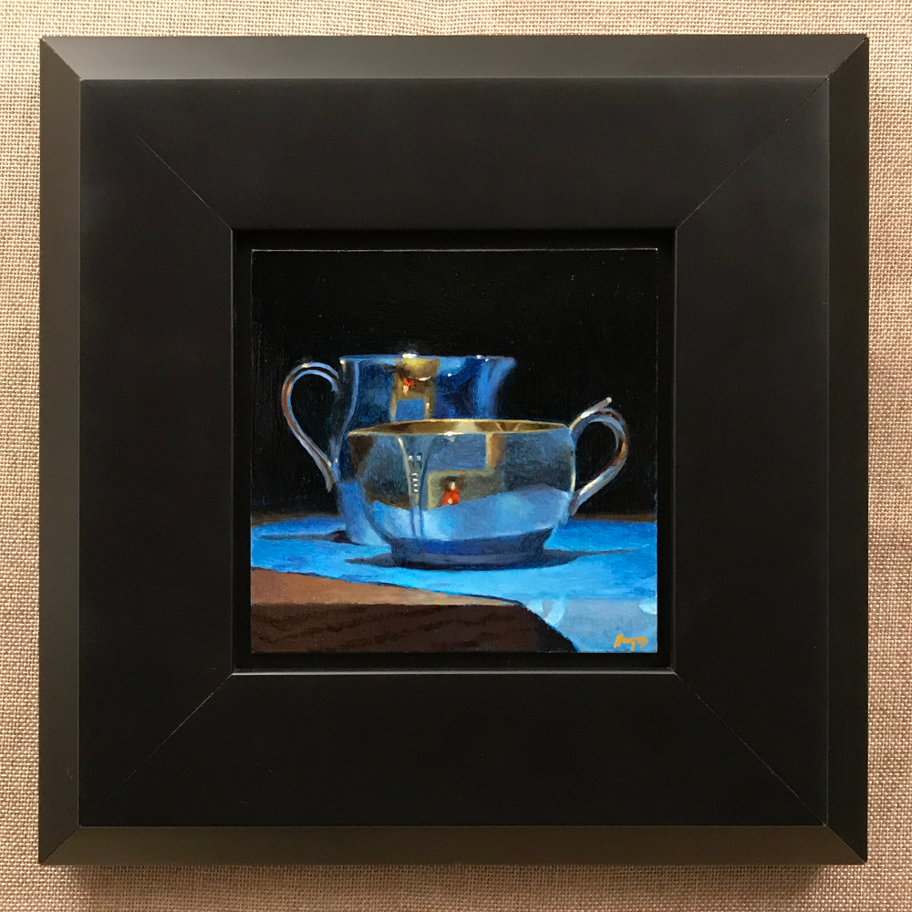 """Silver Creamers on Blue Silk"", oil on panel, 5x5 inches"