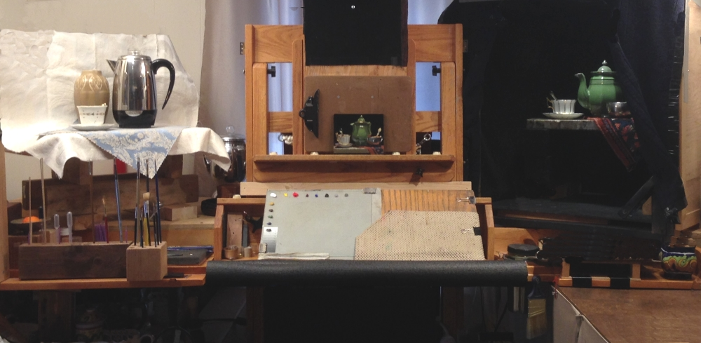 The shadowbox sitting to the right of my easel