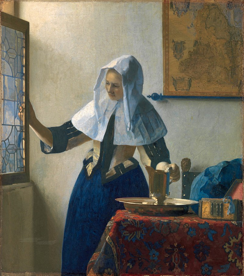 "Johannes Vermeer, ""Young Woman with a Water Pitcher""Oil on canvas, 18x16 inches, painted circa 1662-1665"