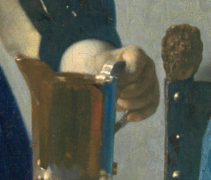 "Johannes Vermeer, detail from ""Young Woman with a Water Pitcher""Oil on canvas, 18x16 inches, painted circa 1662-1665"