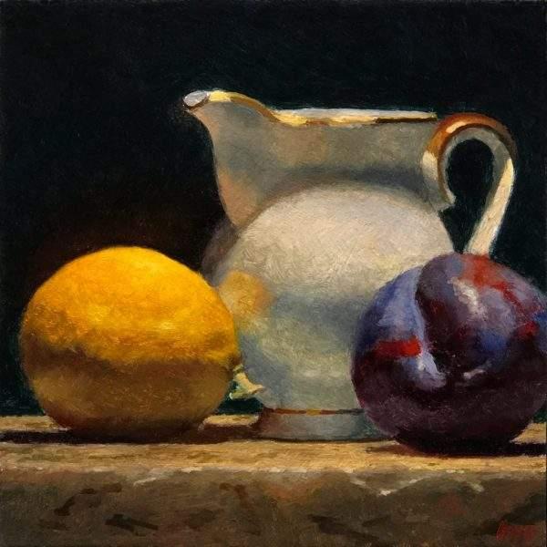 """""""Lemon, Creamer, Plum"""" Fine Art Print"""