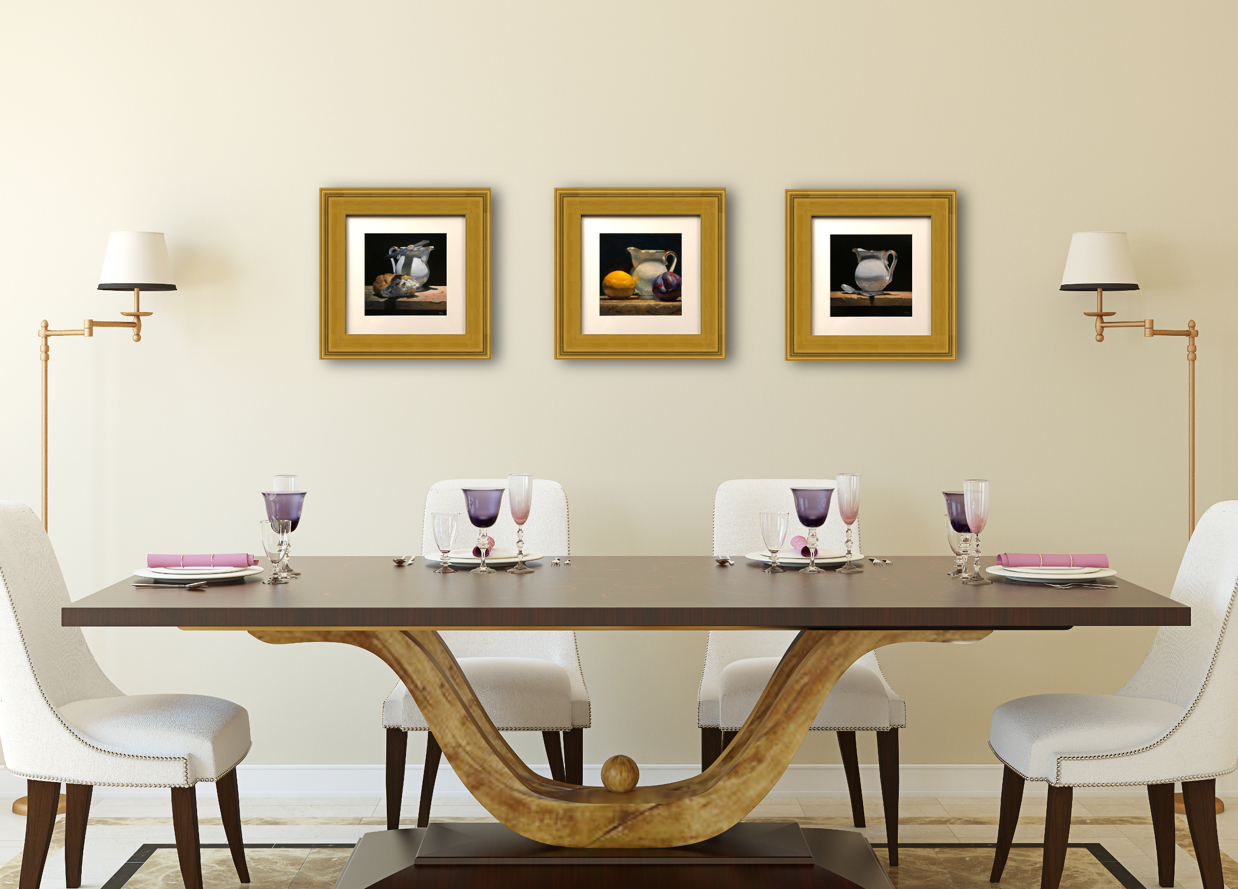 Matted Prints with Gold Frames