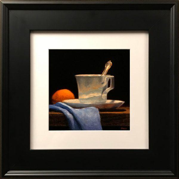 """""""Teacup, Orange, Blue Silk"""" Fine Art Print"""