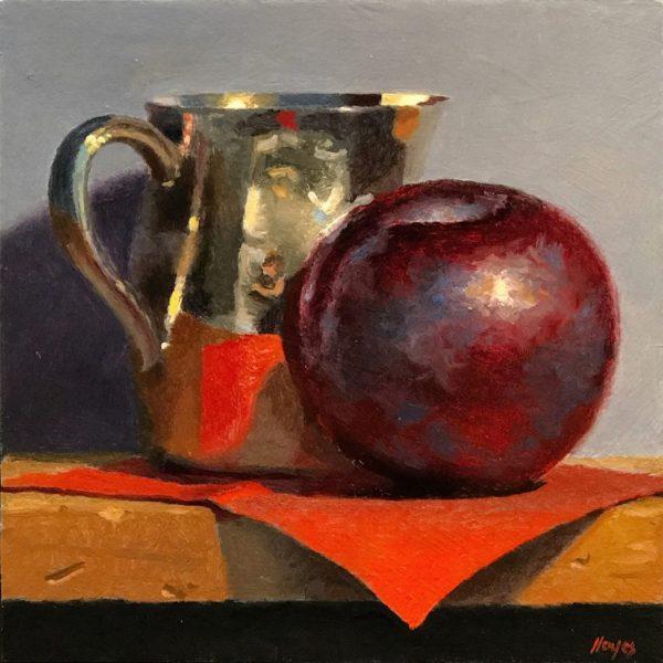 """Plum, Silver Creamer, Red Napkin"" Fine Art Print"